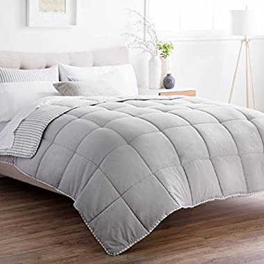 Brookside Striped Chambray Comforter Set - Includes 2 Pillow Shams - Reversible - Down Alternative - Hypoallergenic - All Season - Box Stitched Design - Queen - Coastal Gray