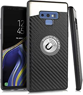 Microseven Compatible with Samsung Galaxy Note 9 Case, [Carbon Fiber Finish] [Light Thin Cover] [Non Slip] [Bulit-in Metal Plate Works with a Magnet Mount] Case for Note 9