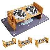 Bosixty Raised Pet Bowls for Small Dogs and Cats, Adjustable Height Bamboo Elevated Dog Cat Stand...