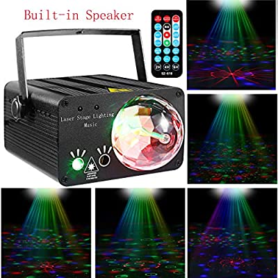 LED Stage Lights RGB Mixed Effects Laser Magic Ball Sound Activated Remote Control 36 Patterns Projector Stage Lighting with Built-in Audio USB Bluetooth for Wedding Birthdays Christmas Party(Black)