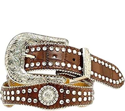 M&F Western Girl's Scalloped Round Concho Belt (Little Kids/Big Kids) Brown 20