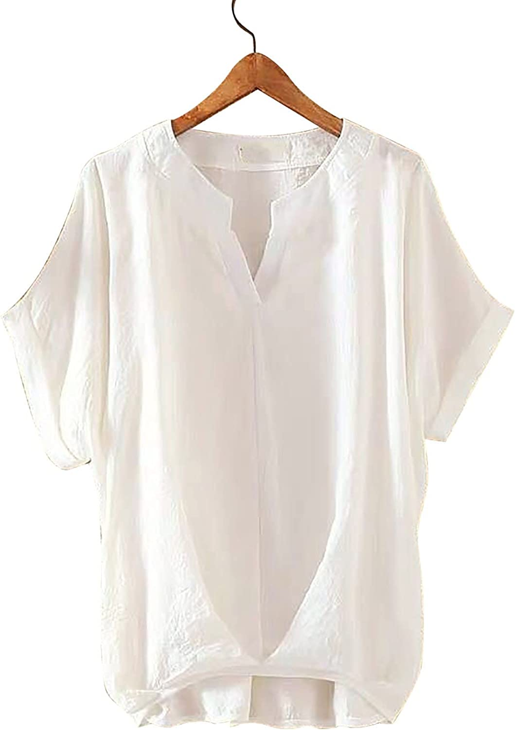 ORT Womens Linen Shirt, Women Summer Solid Color Elegant V-Neck Loose and Thin Linen Shirt Top Blouses
