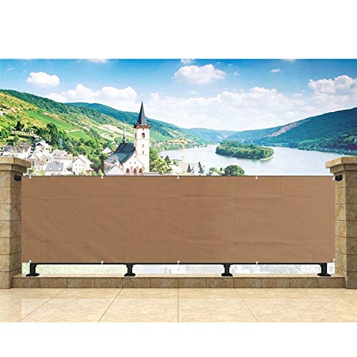 Hisunny Privacy Screens 90x850cm UV-Proof, Weather-Resistant Apartment Patio Privacy Screen Includes Rope,Zip Ties for Porch, Patio, Apartment Khaki