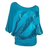 Camiseta Mujer De Gran Tamaño Lentejuelas Sexy Decorativa Camiseta De Cuello Redondo Moda De Verano Casual Suelta Cómoda Elegante Chic Nuevas Mujer Tops I-Blue 3XL