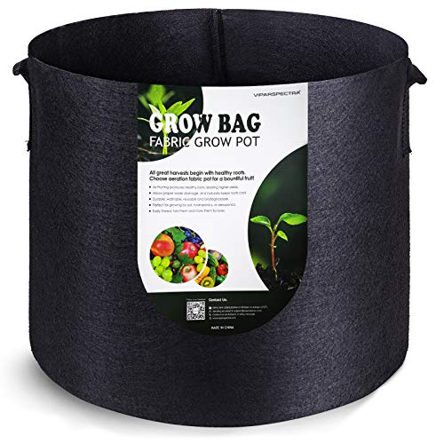 VIPARSPECTRA 10-Pack 7 Gallon Grow Bags - Thickened Nonwoven Aeration Fabric Pots Container with Heavy Duty Durable Handles for Garden Indoor Plants