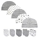 Juego de gorro y manoplas para bebé recién nacido, 5 gorras y 5 pares de guantes para bebés de 0 a 6 meses, 100% algodón