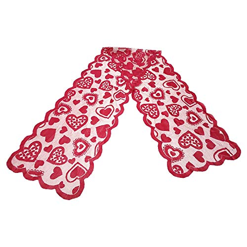 Oppal Valentines Day Table Runner - Red, Lace Table Runner for Wedding Party, Home Decor for Easter Day (Red)