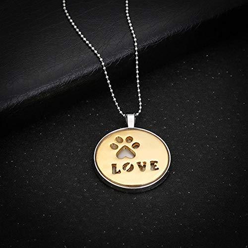 ERKEJI Collar Amor Huellas medallas Letras Luminosa Colgantes Adornos