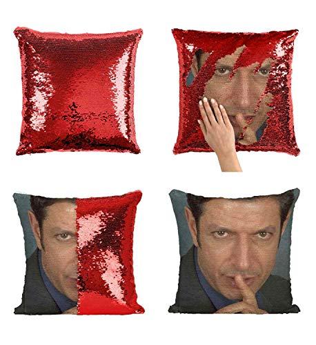 Jeff Goldblum Finger Pillow Sequin Pillow, Sequin Pillowcase, Two Color Pillow, Gift for her, Gift for him, Magic Pillow, Mermaid Pillow, Scales Pillow Cover