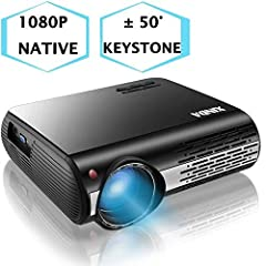【HD 1080P Native Projector and High Brightness】With native resolution of 1920*1080, 6600 lux of brightness and contrast ratio of 8000:1,XINDA 1080p projector is more vivid and 20% clearer than 1080p LED Projector for the same price.1080p projector up...