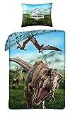 Halantex Juegos De Fundas 100% algodón para Edredón Jurassic World Dinosaurio T-Rex - Funda nórdica 140x200cm + Funda de Almohada 70x90cm