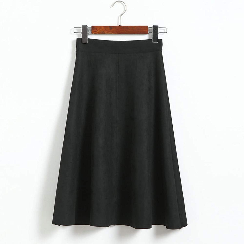 FSDFASS Skirt Women High Waist Midi Skirt 2019 Winter Vintage Style Pleated Ladies A Line Black Flare Skirt