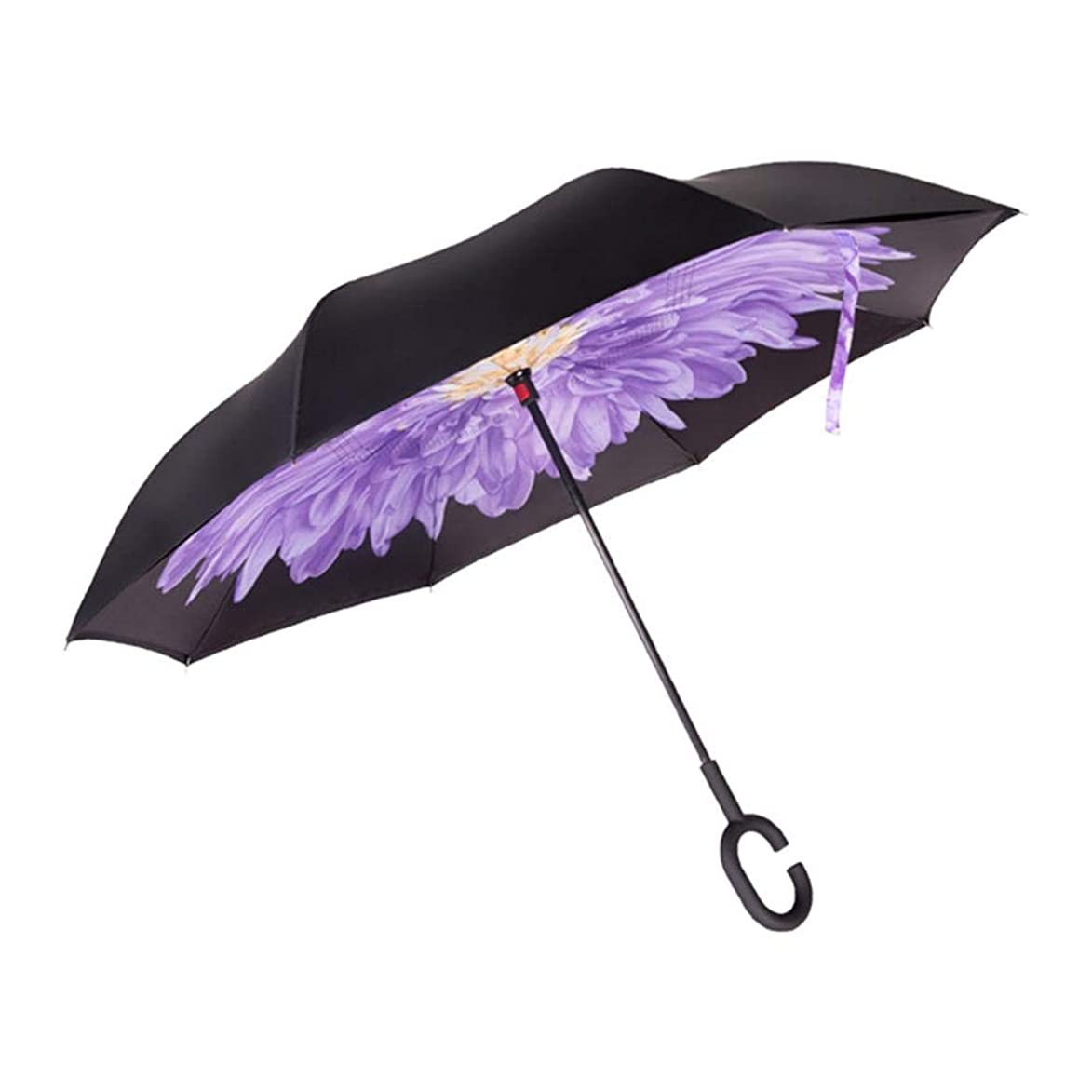 Taimot Double Layer Inverted Umbrellas Reverse Folding Umbrella Windproof UV Protection Big Straight Umbrella with C-Shaped Handle for Car Rain Outdoor Use