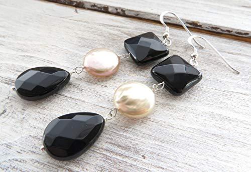 Pendientes de plata de ley 925, pendientes de onix negro y perlas barrocas rosa, pendientes colgantes largos, joyas de piedras semi preciosas, joyas para mujer