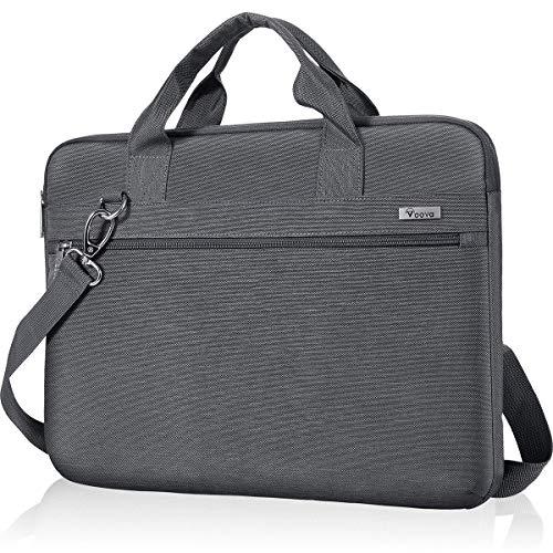 Voova 360°Schutz Laptoptasche 17 17.3 Zoll, Laptop Tasche Hülle mit Schulterriemen, Wasserdicht Notebooktasche Schultertasche für Asus Acer Hp Tablet, Notebook Bag für Frauen Männer-Grau