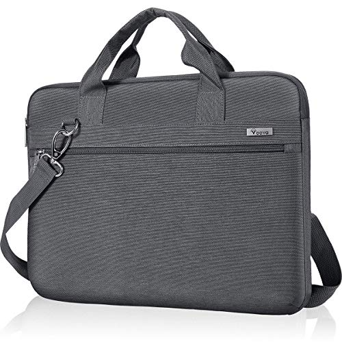 Voova Laptop Sleeve Shoulder Bag 17 17.3 Inch Carrying Case, Upgrade Computer Messenger Bag Compatible with Razer Blade Pro 17, Lenovo Asus Acer Dell Hp Notebook Briefcase with Organizers Pocket, Grey