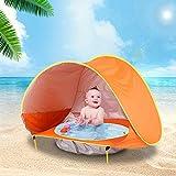 Coospy Baby Strandzelt mit eingebautem Pool, Tragbares Pop Up Zelt, Baby Strand Zelt Anti-UV Sonnenschutz für Strand, Draussen, Picknick, Camping und Reisen (Orange)