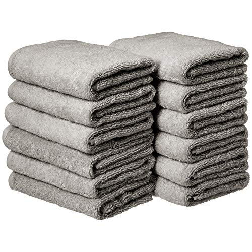 AmazonBasics Cotton Hand Towels, Gray - Pack of 12