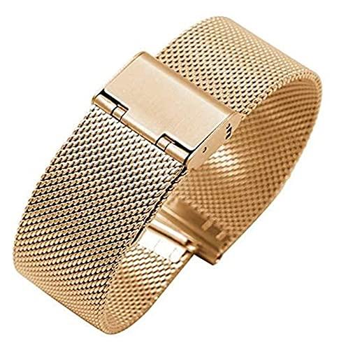 FFAN Correa de Reloj Correa de cinturón Tejida de Acero Inoxidable 16 mm 18 mm 20 mm 22 mm Cinturón de Acero Cinturón de Malla Accesorios de Reloj Correa de Reloj Correas de Reloj Inteligente (Color: