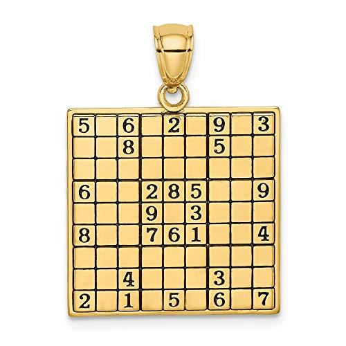 14k Gold Sudoku Pendant Necklace