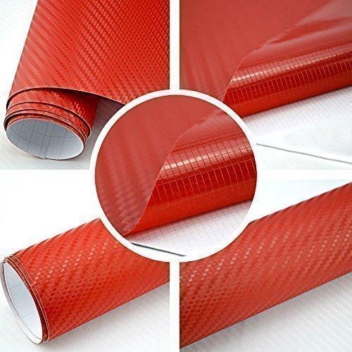 TipTopCarbon 6,57€/m² 3D Carbon Folie rot BLASENFREI 2m x 1,52m mit Luftkanäle Autofolie selbstklebend