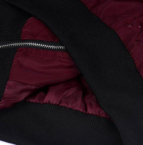 Rosennie Damen Weich Reißverschluss Kurz Motorrad Jacke (XXXL, Wein) - 2