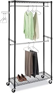 osea Garment Rack Clothes Hanger Home Shelf Wire Shelving Clothing Rolling Rack with Wheels Home &Commercial Black(Two Hanging Rods Gray)