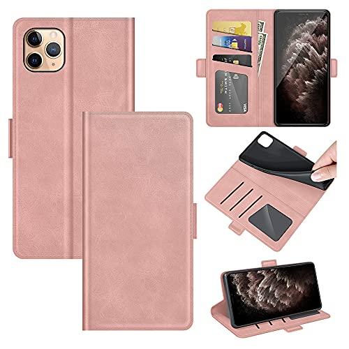 AKC Funda iPhone 11 Pro 5.8 Carcasa Caja Case con Flip Folio Funda Cuero Premium Cover Libro Cartera Magnético Caso Tarjetero y Suporte-Oro Rosa