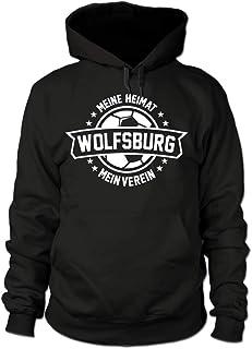 shirtloge Wolfsburg - Meine Heimat, Mein Verein - Fan Kapuzenpullover - Schwarz - Größe S - 3XL