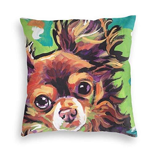 Lewiuzr Funda de cojín con diseño de Perro de Arte de Chihuahua de Pelo Largo 24X24 Pulgada