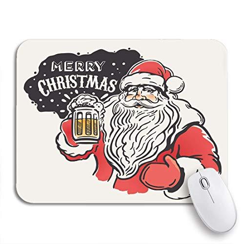 MIGAGA Gaming-Mauspad,Rotes Weihnachts-lustiges Weihnachtsmann-Bier in der Hand lustig,Rutschfest Verschleißfestes Und Haltbares Gummi,Mousepad Für Bürocomputer,9.5