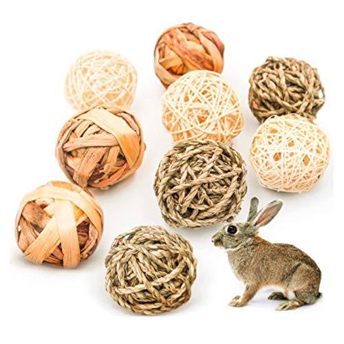 Esenlong Bolas masticables de conejo, 9 piezas de jaula de mascotas accesorios de entretenimiento masticar juguetes divertidos para conejitos de indias