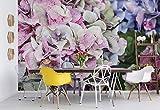 Hortensien Vlies Fototapete Fotomural - Wandbild - Tapete - 416cm x 254cm / 4 Teilig - Gedrückt auf 130gsm Vlies - 12045VEXXXL - Blumen