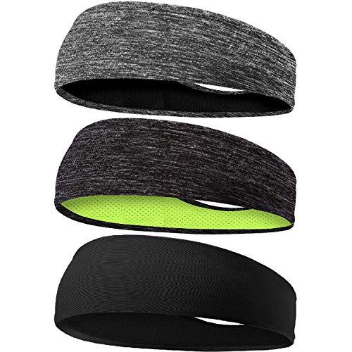 Braylin Men s Headbands, 3 Pack Sweat Workout Headbands for Men, Sport Cooling Headbands for Running Crossfit Fitness Yoga Cycling Hiking, Elastic Sweat Wicking Non Slip