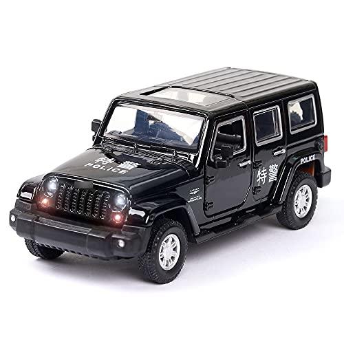 Zpzzy Simulación 1:32 Escala todoterreno Modelo de coche de policía Simulación de volante con sonido y luz Puede abrir la puerta Modelo de fundición de aleación para niños Coche de juguete Parte infer