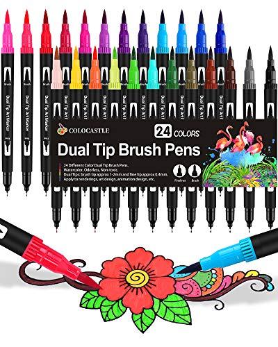 Brush Pen Filzstifte 24 Farben Doppelte Pinselstifte Dual Brush Pen für Bullet Journal Stifte Handlettering Kalligraphie Manga Detail Malbücher 1-2 mm Pinselspitzen und 0,4 mm Fineliner