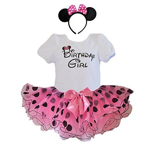 Birthday Girl T-Shirt with Polka Dot Tutu and Headband 3 PCs Set (Age 1, Pink with Black dots)