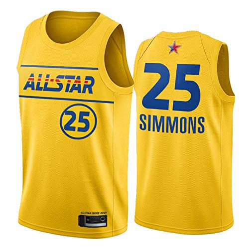 ZHS Ben Simmons Jersey 2021 All-Star New Season 76ers 25# Yellow City Edition Jerseys de baloncesto, unisex, sin mangas, ropa deportiva de entrenamiento L