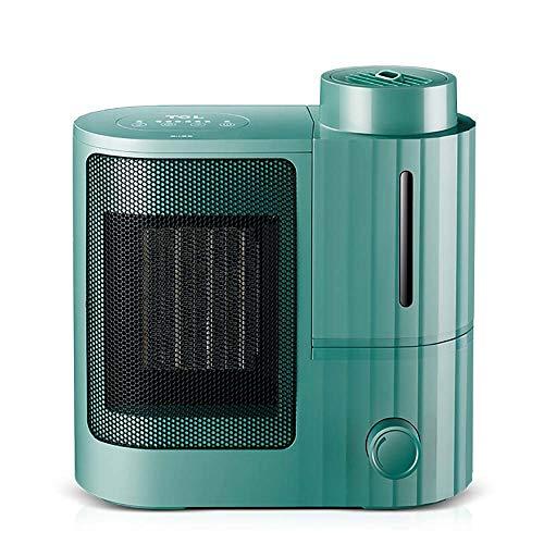 Ventilador Calefactor,Portable Eléctrico Mini Calefactor Eléctrico Cerámica Con Función De Humidificación Del Aire 3 Temperatura Calefactor Eléctrico Para Casa Oficina Escritorio-Verde 31x16x32cm