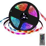 Ruban Led 5m Multicolore LXMIMI Bande Lumineuse IP65 avec Télécommande et Boîtier de Commande,TV,Plafond,Décoration de Placard,5050 RGB,Conception de Coupe,Installation Facile
