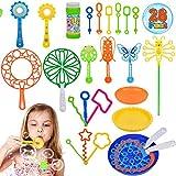 Piezas Burbujas de Jabón Kit, AMOE 28 Piezas Pompas de Jabón para Niños Burbuja Varitas Verano Jardín Al Aire Libre Interior para Niños Suministros para Fiestas de cumpleaños
