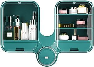 XFLQm Plank, badkamer opbergdoos, wandgemonteerde perforatievrije huishouden voor douche-organizer, cosmetica stofdicht en...
