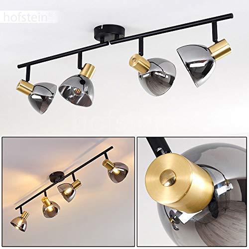 Plafondlamp Mariefred, plafondlamp van metaal/glas in zwart/glas/rookglas met verstelbare schijnwerpers, 4 vlammen, 4 x E14 fitting, max. 25 Watt, geschikt voor LED-lampen
