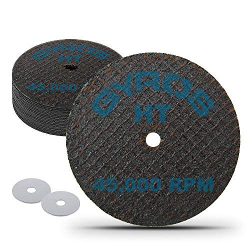 """GYROS 1.5"""" Resin Cut-Off Wheels for Rotary Tools. 12 Double Fiberglass Reinforced Cutting Discs 