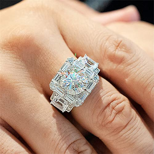 High Luxury 18K White Gold Plated Shiny Full Diamond T Square Mozanstone Multi Row Anniversary Promise Wedding Engagement Ring Hip Hop Ring for Men ST.030 (10)