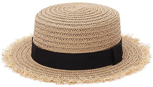 GEMVIE-Gorro de Paja Niño Gorro Paja Niño Sombrero Bebe Verano Sombrero de Sol Bebe ala Ancha Protección Solar Circunferencia 54CM
