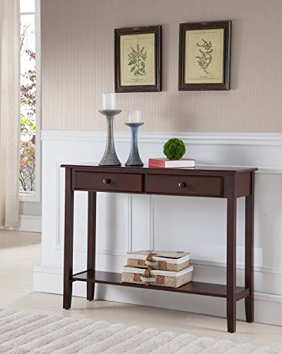 Kings Brand Furniture - Sawyer Wood Console Entryway Table with 2 Drawers, Walnut