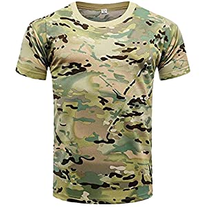 Tops for Men Printed Camo-Camouflage T-Shirts Round Neck Sports And Fitness Short Sleeve Summer Basic Casual Tee