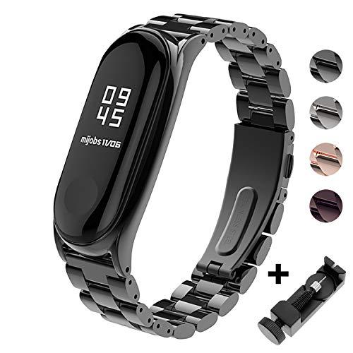 BDIG Für Xiaomi Mi Band 3 Armband Metall, Ersatzband Wasserdicht Edelstahl Strap Armband Zubehör für Xiaomi Mi Band 3 miband 3(Metall Schwarz,Fitness Tracker Nicht Enthalten)