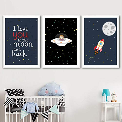 CNHNWJ Baby Kids Room Decor Wall Art Toile Peinture Dirigible Moon Rocket Girl Star Nursery Nordic Posters and Prints Wall Pictures (40x60cmx3 / no Frame)